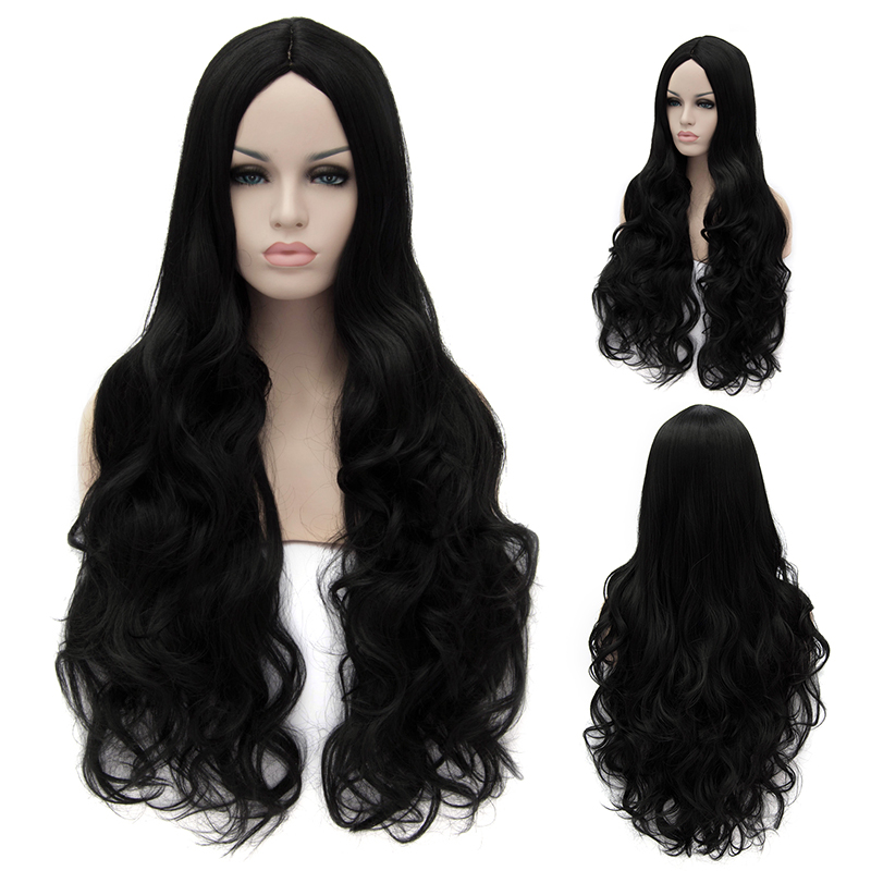"32"" 80cm Women's Curly Wavy Wigs Natural Black Long Cosplay Wig Heat Resistant Party Costume Hair No Bangs Free Shipping(China (Mainland))"