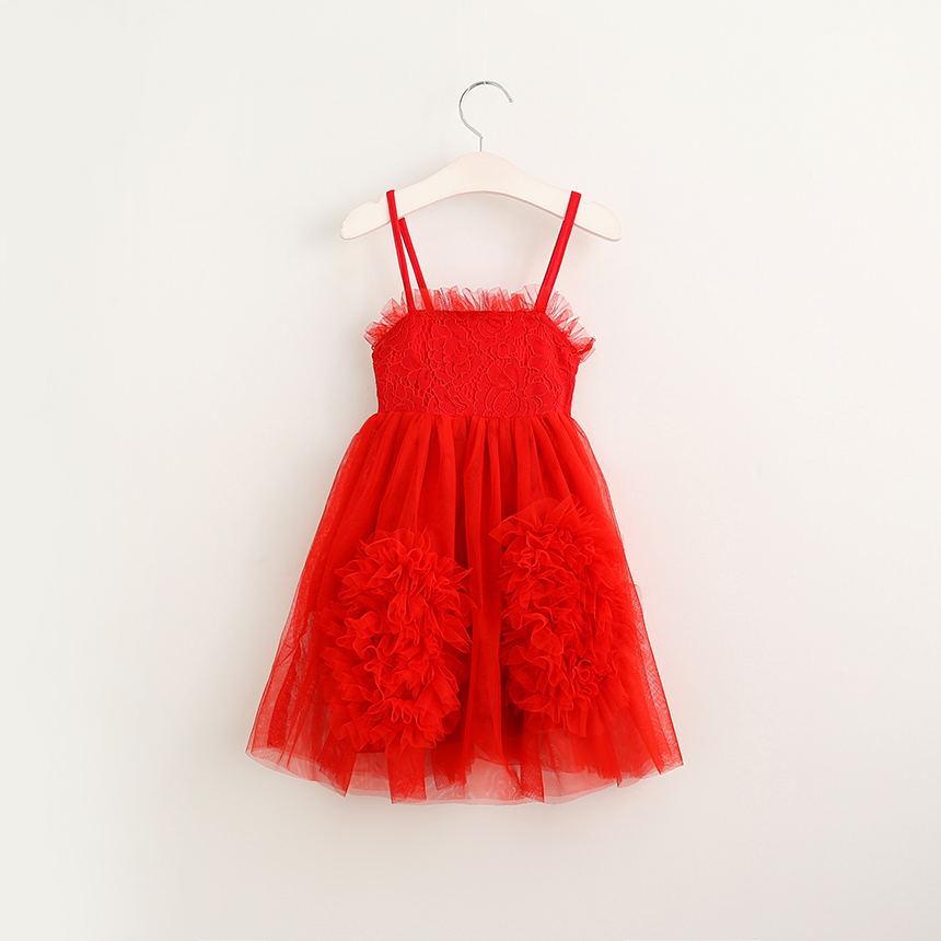Babies Lace Floral Dresses Kids Girls Princess tutu Dress Baby Girl Party Singlet Dress 2017 childrens Summer clothing