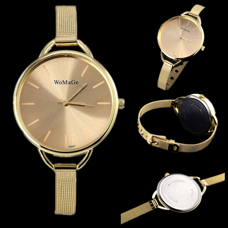 2016 luxury brand watch women fashion gold watch full steel quartz watch women dress watches hour