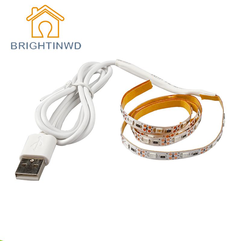 USB Cable Supply LED Strip Light Ribbon Single Color TV Background Lighting SMD3528 Leds 50/100/200/300cm Optional(China (Mainland))