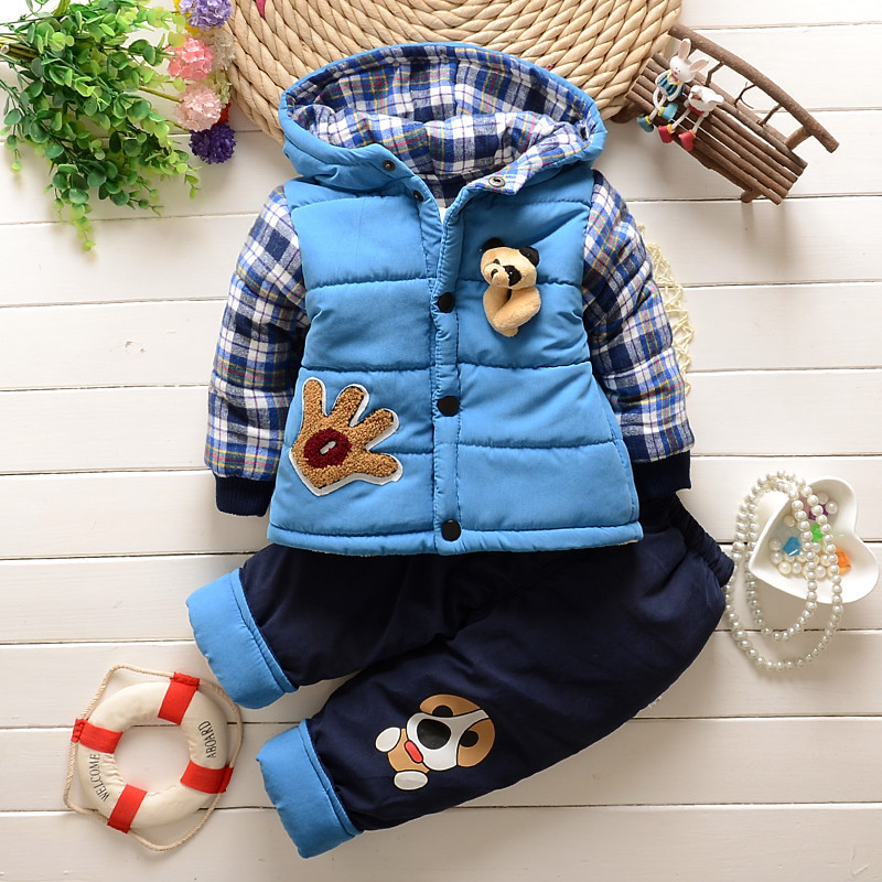 2015 Winter Baby Boys Warm Suits Infant Thickening Clothes Sets Childrens outdoors Sports Cartoon Coats+Pants Kids Korean Suits<br><br>Aliexpress