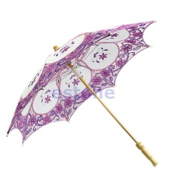 J35 Free Shipping Bridal Wedding Embroidered Lace Parasol Umbrella Party Decoration Purple New