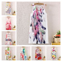 Новинка винтаж весна лето женщин рукавов мультфильм цветочные графический отпечатано цифровая печать платье пляж платье