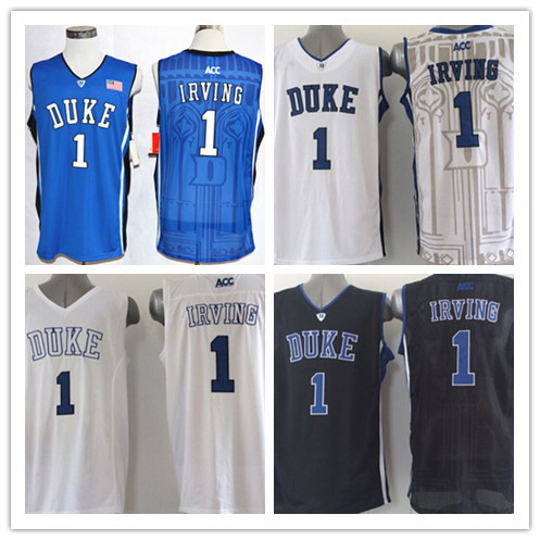New Top Quality #1 Kyrie Irving Duke Jersey Blue Devils College Basketball Jerseys, Stitched Jersey Blue White Embroidery logo(China (Mainland))