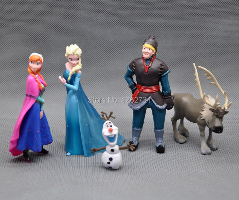Free shipping EMS 100/Lot 5 PCS Elsa Anna Olaf Kristoff Deer SVEN PVC Action Figures Toys(China (Mainland))