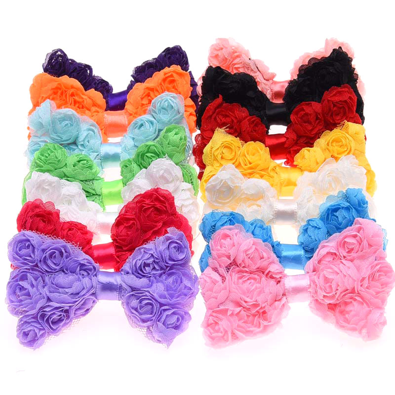 14PCS No Clips Triplex Chiffon Bow Rosette baby girls bows flower infant headwear toddler hair accessory baby hair flowers(China (Mainland))