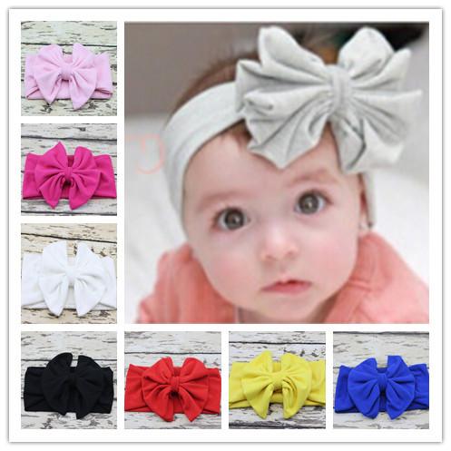 New 2015 Baby Girl Cotton Headwrap Floppy Big Bow Turban Headband for Newborn Hair Baby Top Knot Headband 10pcs/lot(China (Mainland))
