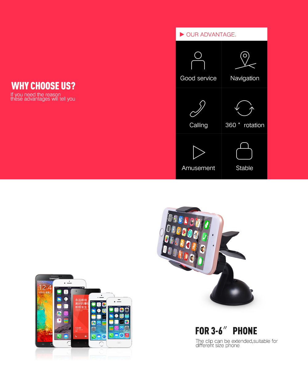 2017 Car Gps Accessory Car Glass Windshield Mount Stand Suction Cup Sticky holder& stand For iPhone Xiaomi Yi Redmi Note GPS HTC