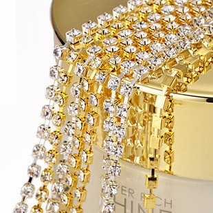 Free Shipping New Bling Tiny Clear Crystal Rhinestone Beads Golden Cup Metal Chain Line DIY Design Nail Art Decoration 1M x 2MM