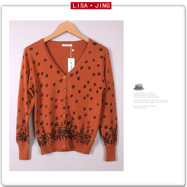 Sweater orange grey print cardigan mother clothing women's spring and autumn