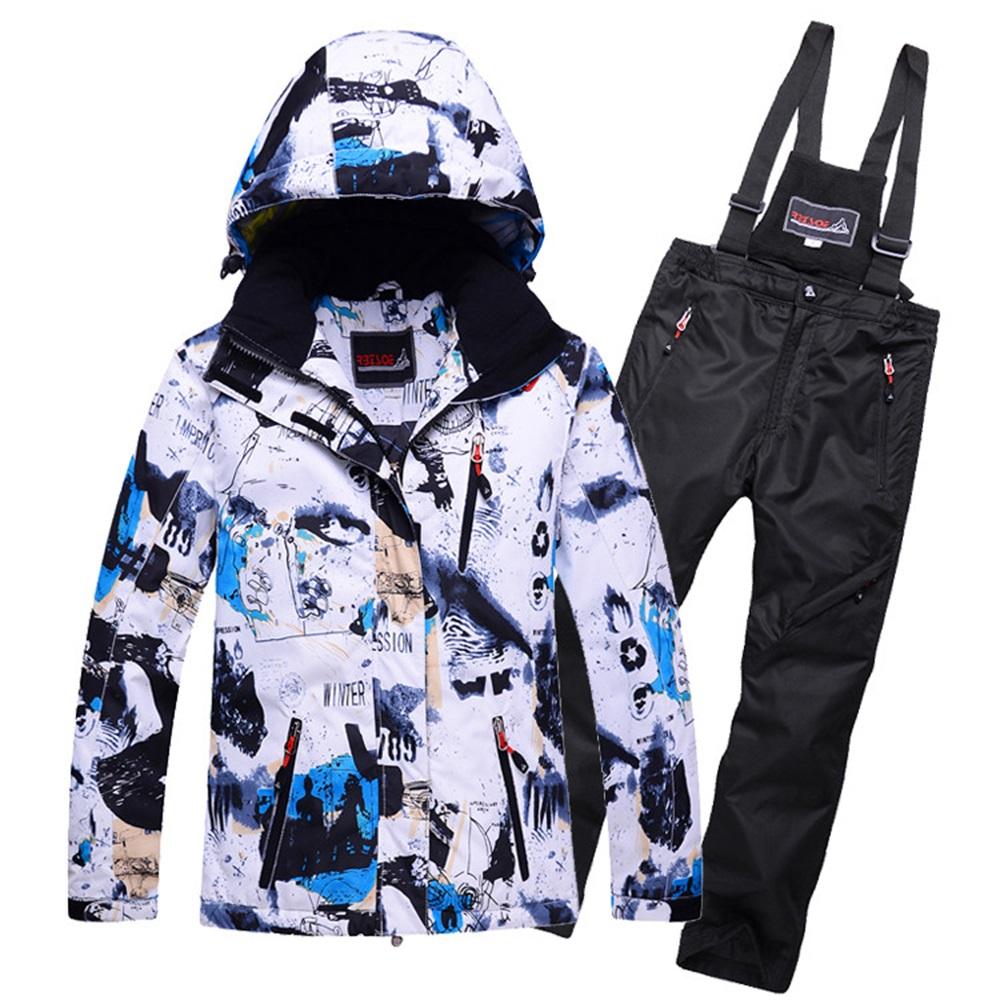 Boy ski jacket and pant set Girls winter snowboard clothes thermal cotton-padded kids snow suits waterproof ski coats -30 Degree(China (Mainland))