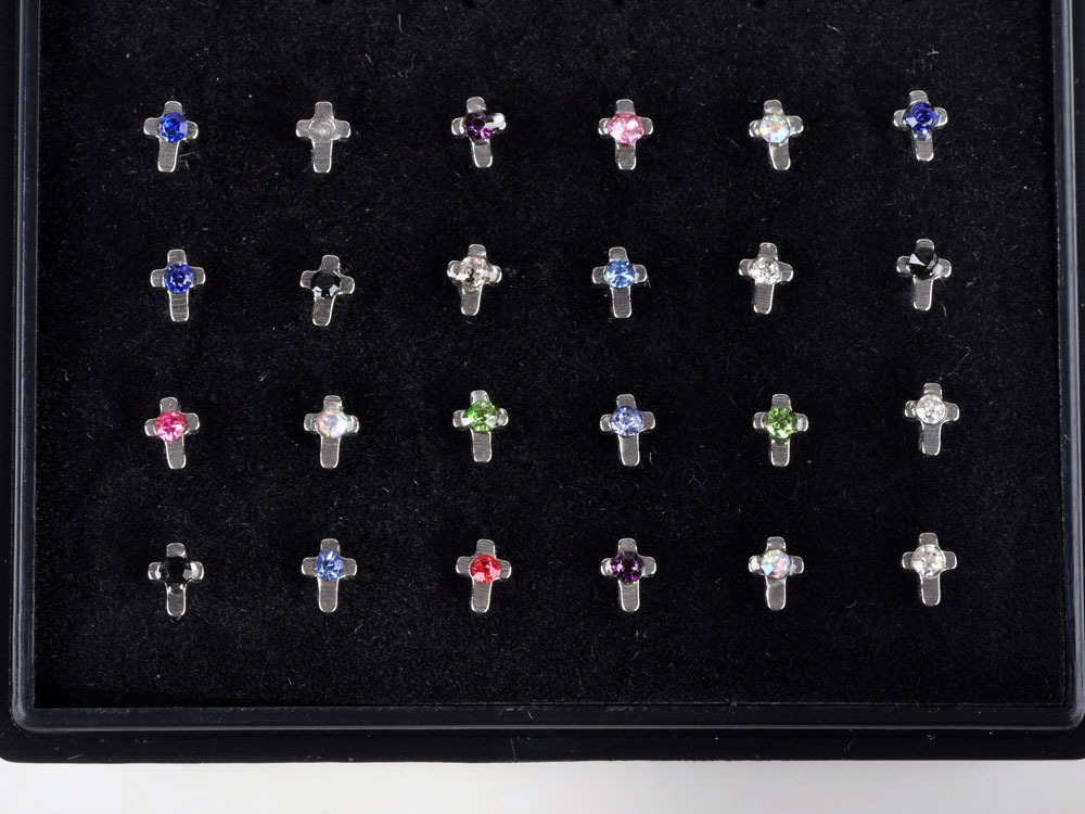 24pcs Nose Ring Fashion Body Jewelry Nose Stud 316L Stainless Surgical Steel Multicolor Cross Nose Piercing Crystal Stud NS1(China (Mainland))