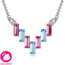 "Women's Pink & Sea Blue ""waterfall"" Crystal Wedding Necklace Made With Swarovski Elements, Come With A Necklace Box! (8891)(China (Mainland))"