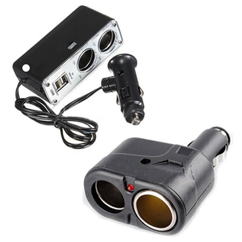 Новое 2 USB порт зарядное устройство и 2 разъём(ов) автомобильное зарядное устройство адаптер разветвитель