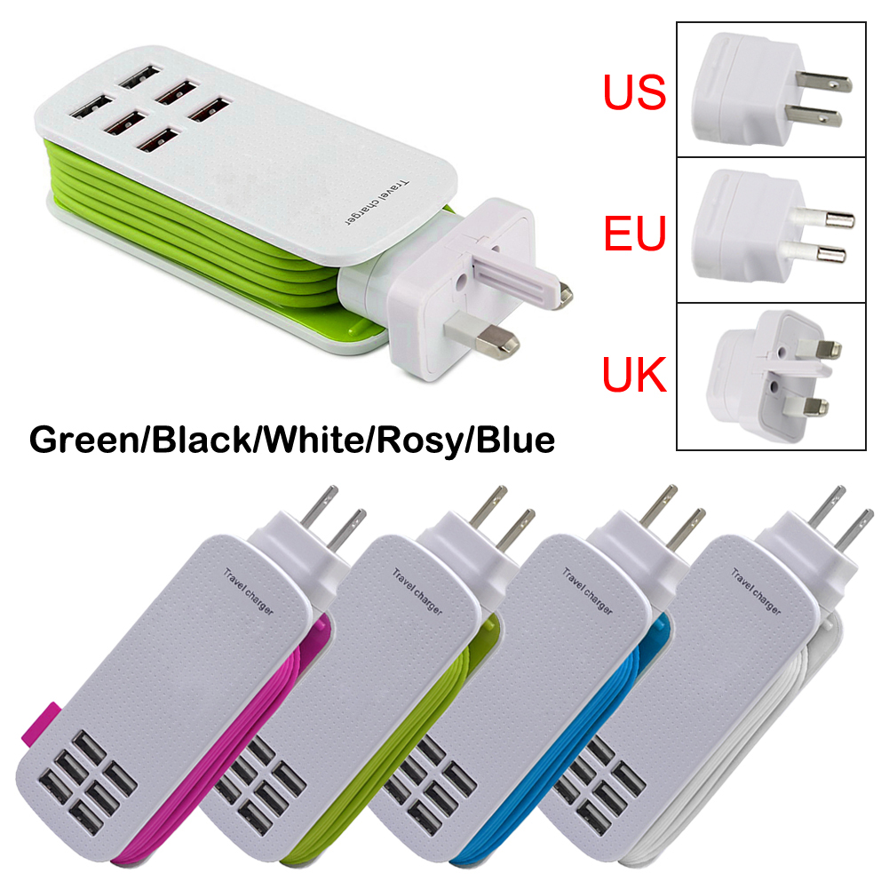 EU/US plug 5V 6A 6 Ports USB Wall Charger AC Power Adapter 1.3M long cable ON/OFF Switch travel home carregador(China (Mainland))