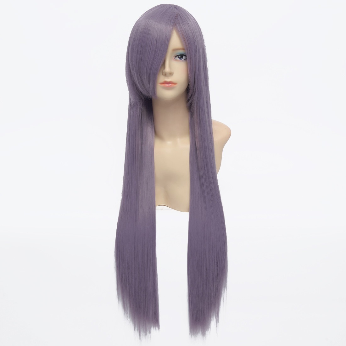 80cm Smoky Purple Straight Long Synthetic Full Cosplay Costume Anime Wig<br><br>Aliexpress