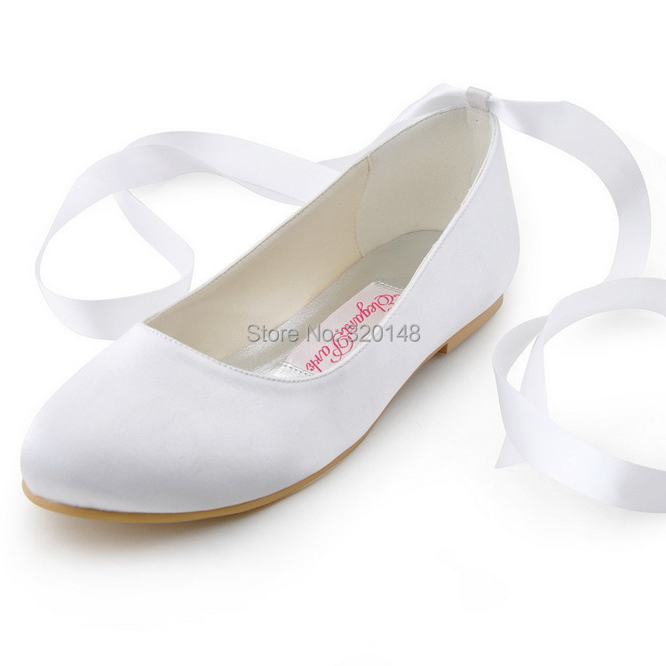 Fashion Shoes EP11105 Ivory Round Toe Ribbon Lace Up Satin Flats Women Casual Shoes Wedding Bridal Flat Shoes(China (Mainland))