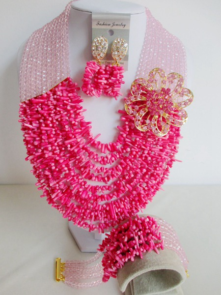 pink african coral beads jewelry set nigerian wedding african beads jewelry set coral crystal ABD506<br><br>Aliexpress