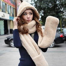 2015 Brand winter Lambs wool women Hat And Scarf Set Fur Hats Women Winter Scarf And Gloves Free Shipping(China (Mainland))
