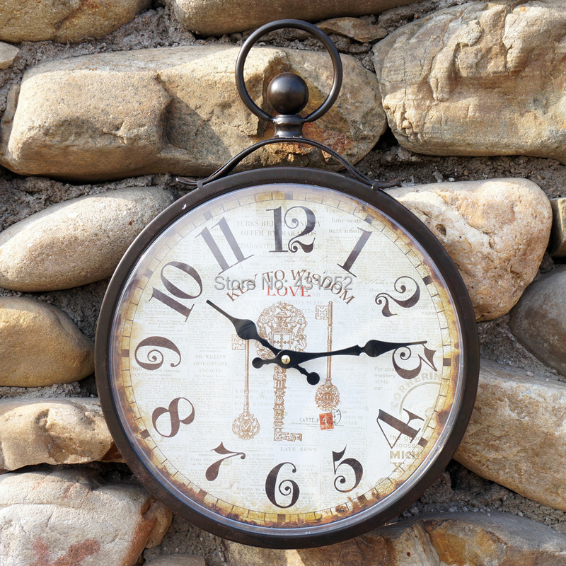 Wrought Iron Wall Clock Antique Retro Vintage Design Clocks Watch Living Room Bed Bedroom Home Decoration Horloge Murale - GQTorch Jewelry Store store