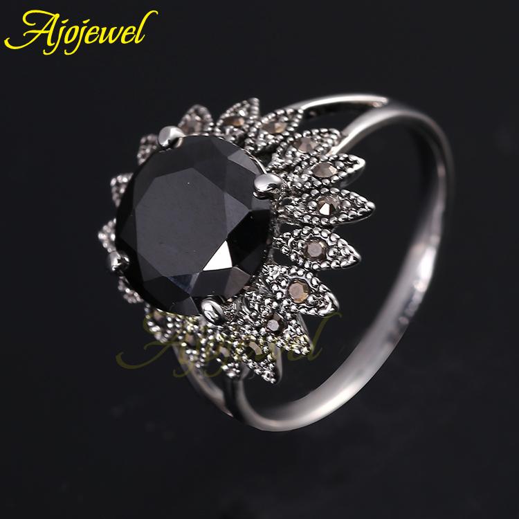 Aneis bijou elegant office lady jewelry vintage retro style cz flower design black crystal ring for women(China (Mainland))