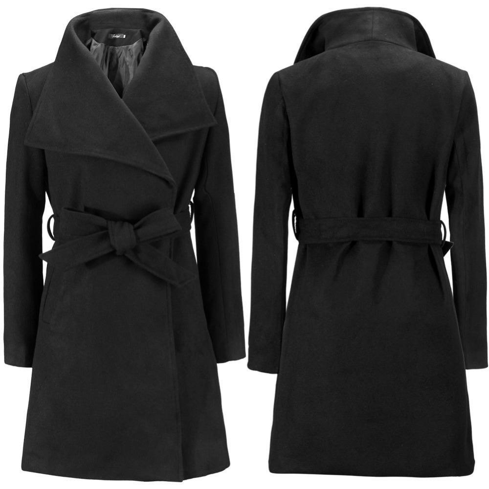 Aliexpress.com Comprar 2016 de invierno negro militar abrigo largo de lana elegante Retro mujer abrigo para mujer chaquetas de invierno y abrigos de