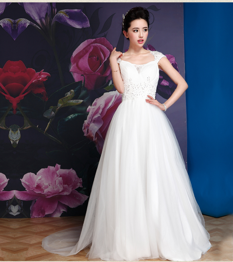 Free Shipping2015 New Sexy Cap Sleeve Word Shoulder Chapel Train Wedding Dress Lace Invisible Zipper Design Button Decor Vintage(China (Mainland))