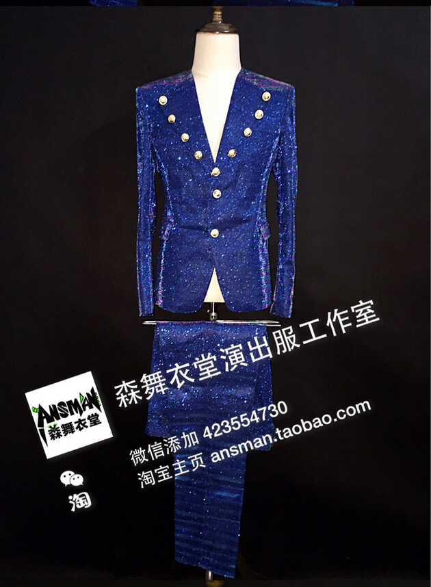 Men Slim Sequins Suit Costumes Jacket Blazer Pants Male Singer Stage Costumes Clothing Set Wedding Dress Men Clothing Prom WearÎäåæäà è àêñåññóàðû<br><br>