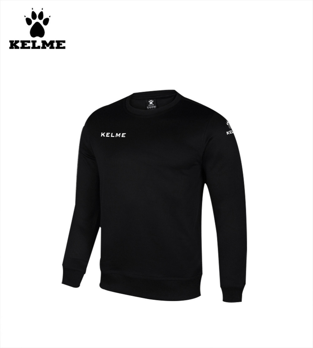 Kelme K15Z330 Men Round Neck Long Sleeve Training Soccer Jersey Knit Sweater Black(China (Mainland))