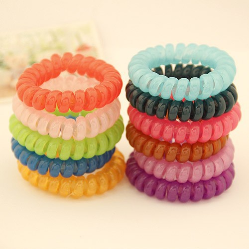 Women Lady Girl Colorful Elastic Rubber Telephone Wire Style Hairband Hair Ties & Plastic Rope Band Accessories - BeLovesStyle store