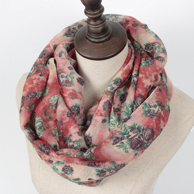Warm Women Scarf with Flower Print