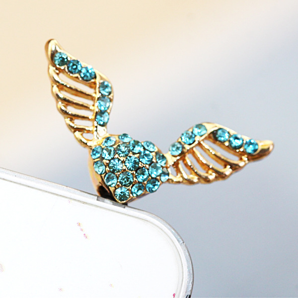Love Angel Wings Shape Mobile Phone Earcap Earphone Stopper Anti Jack Dust Plug For Iphone For Samsung And For All3.5mm Earphone(China (Mainland))