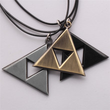 Retail 1pcs Anime The Legend of Zelda The Triforce Necklace Metal Figure Pendant Necklace Wholesale High-quality Movie Jewelry(China (Mainland))