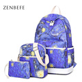 ZENBEFE 3 Pcs Set The Starry Night Printing Backpack Fashion Galaxy Polyester Backpack School Bag For