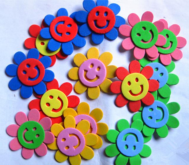 Free Shipping EVA Adhesive Sticker Smiley Sunflower foam sticker Kindergarten Decoration Craft Ideas for Kids 150pcs/lot(China (Mainland))