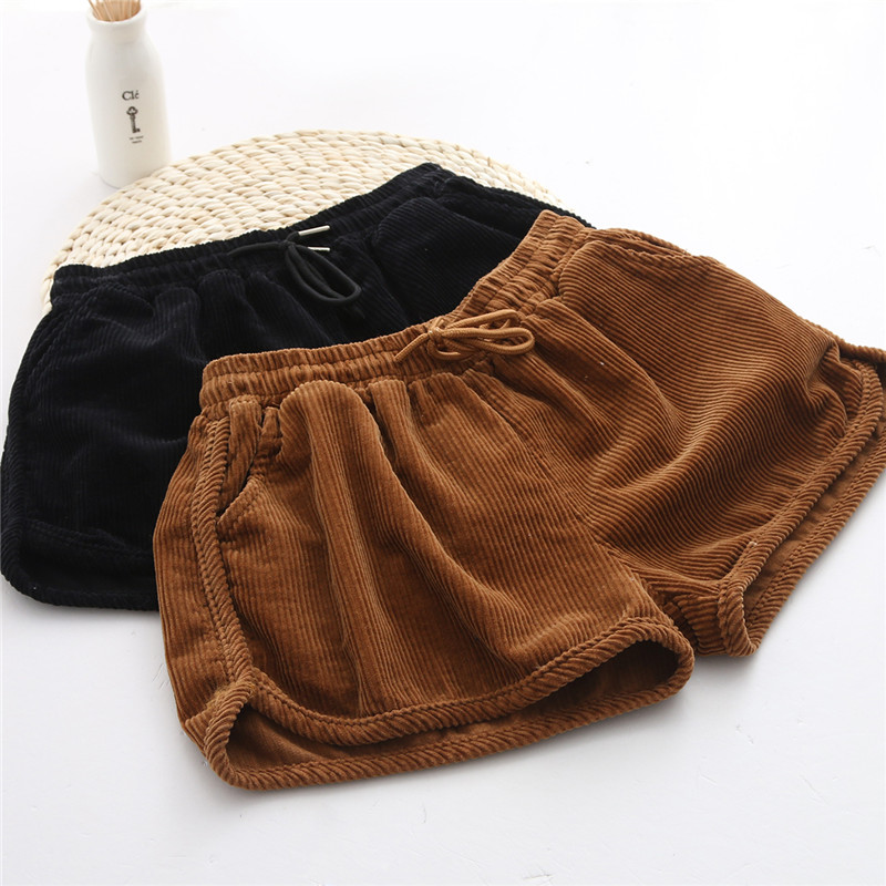 High Fashion Korean Designer New 2016 Spring Fall Elastic Waist Corduroy Shorts Womens Cute Pleated Boots Short Pants Autumn(China (Mainland))