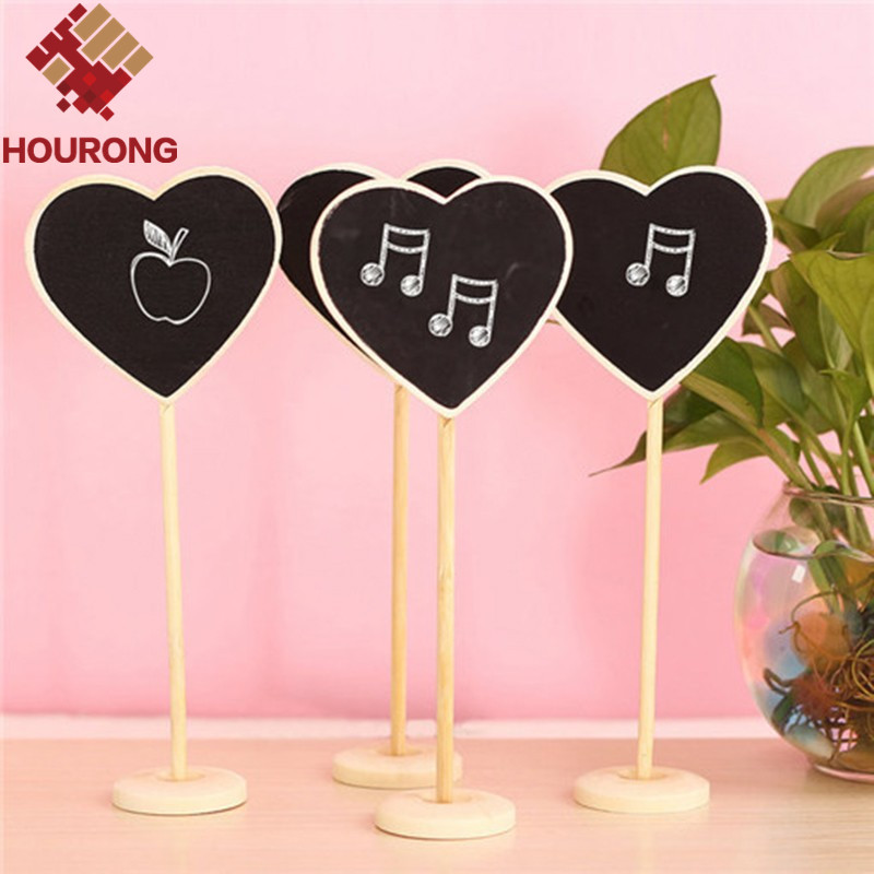 10x Table Wedding Party Decorations Heart MINI CHALKBOARD BLACKBOARDS On Stick Stand Place Holder Brand-New(China (Mainland))
