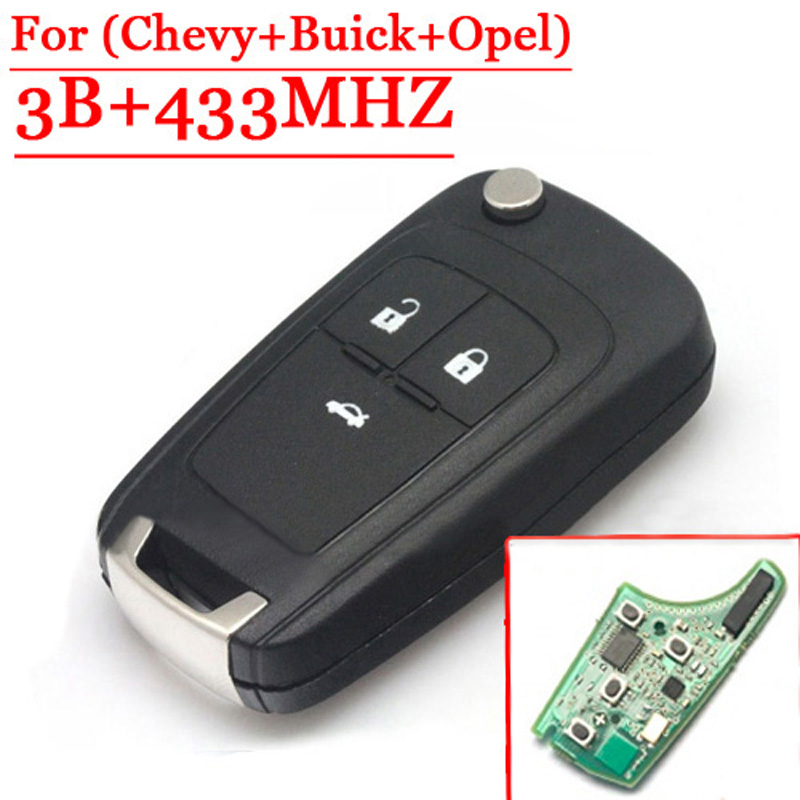 Flip Folding Remote Key 3 Buttons For Chevrolet Cruze Chevy Buick Opel, 315/433 MHZ, ID46 Chip HU100 Uncut Blade(China (Mainland))