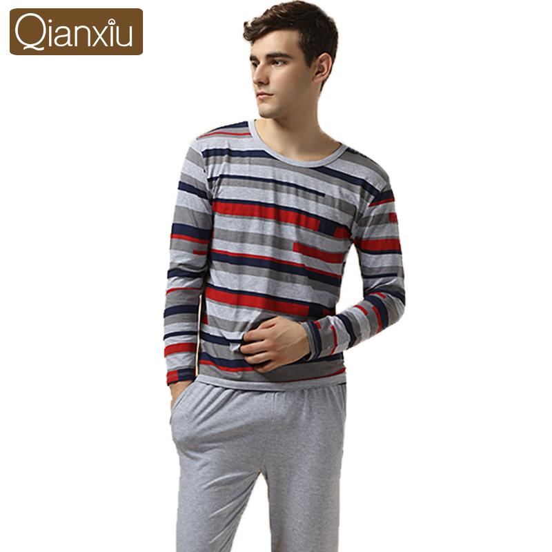 Qianxiu Brand Pajamas Casual Stripes Men Pajama Set Plus Size Sleepwear Modal Cotton Home Dress for men Free Shipping(China (Mainland))