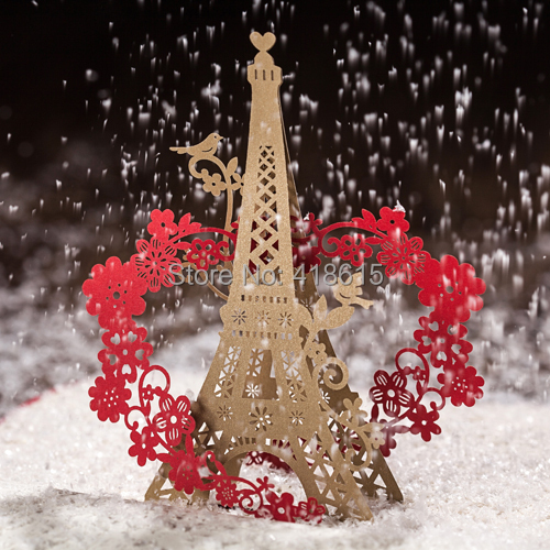 Wedding Invitation 50PCS Romantic 3D Eiffel Tower Surrounded with Flowers & Birds Garden Theme Card with Free Shipping Wholesale(China (Mainland))