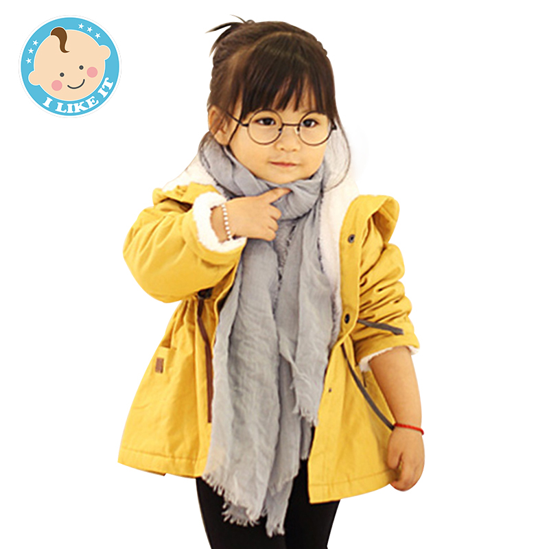 Winter Coat Jacket Casual Hooded Warm Coat Trench Velvet Girls Winter Hooded Jacket Cotton Childrens Down Jackets for Girl(China (Mainland))