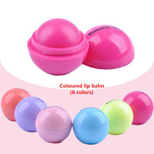 New Makeup Round candy color Moisturizing lip balm Natural Plant Sphere lip gloss Lipstick Fruit Embellish lip smacker(China (Mainland))