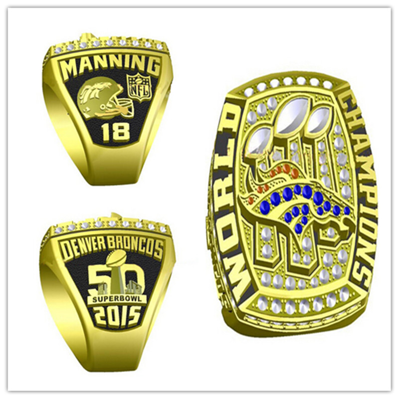 Factory Price 2016 New Arrival 2015 Denver Broncos Super Bowl Championship Ring Replica MVP Manning Drop Shipping(China (Mainland))