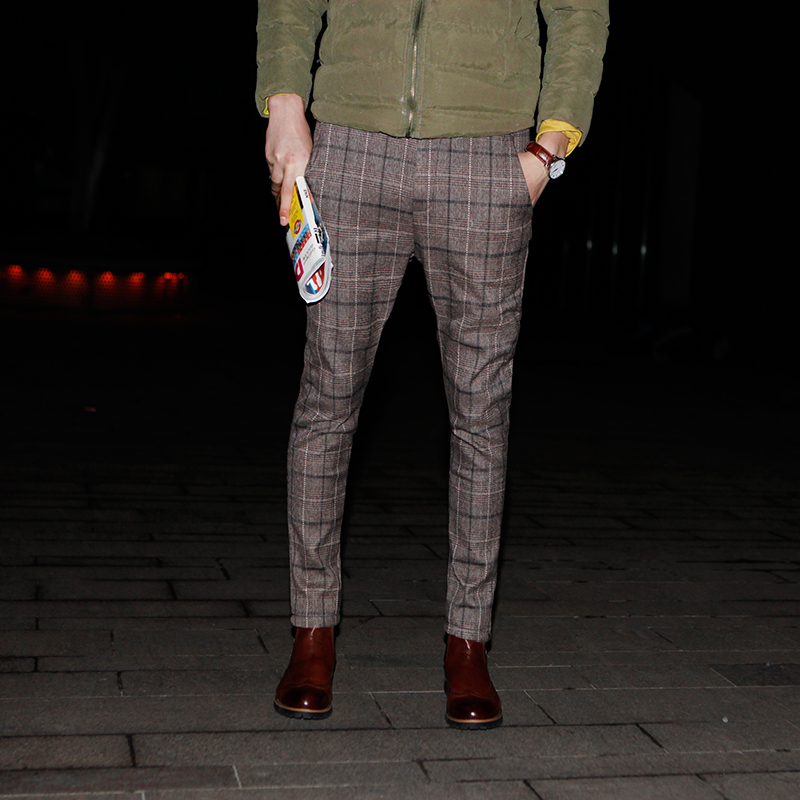 Mens casual pantalon promotion achetez des mens casual for Pantalon homme a carreaux