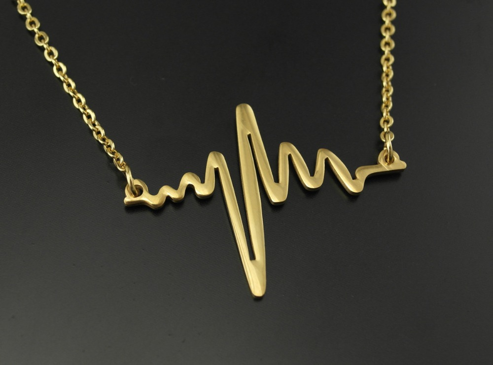 Fine jewelry 316L Stainless Steel Valentine's Day Heart Beat Pendant Heartbeat Statement Necklace Body Chain Necklace(China (Mainland))