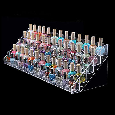 Clear Acrylic 65 Bottles Makeup Nail Polish Organizer Display Stand Holder C60(China (Mainland))