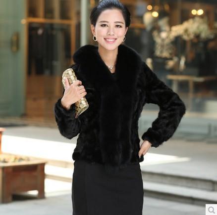 2015 hot new Rex imitation mink fur imitation leather grass fox fur collar coat Slim was thin female modelss long-sleeved(China (Mainland))
