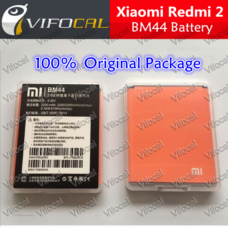 Гаджет  100% Original Replacement Battery for Xiaomi Hongmi 2 / Red Rice 2 / Redmi 2 Mobile Phone BM44 2200mAh Backup Bateria Free ship None Бытовая электроника