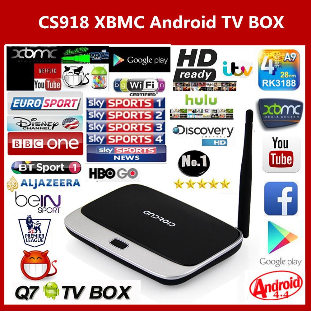 Arabic IPTV BOX XBMC Fully Loaded Android TV Box Quad Core CS918 MK888 Q7 Android Smart TV Free SkySports Live TV HD 1080P(China (Mainland))