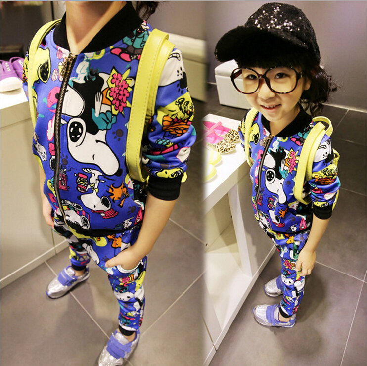 New arrival fashion Girls suit ( coat + pant ) 2015 long sleeve Character big girl sets spring/autumn kid clothes free shipping(China (Mainland))